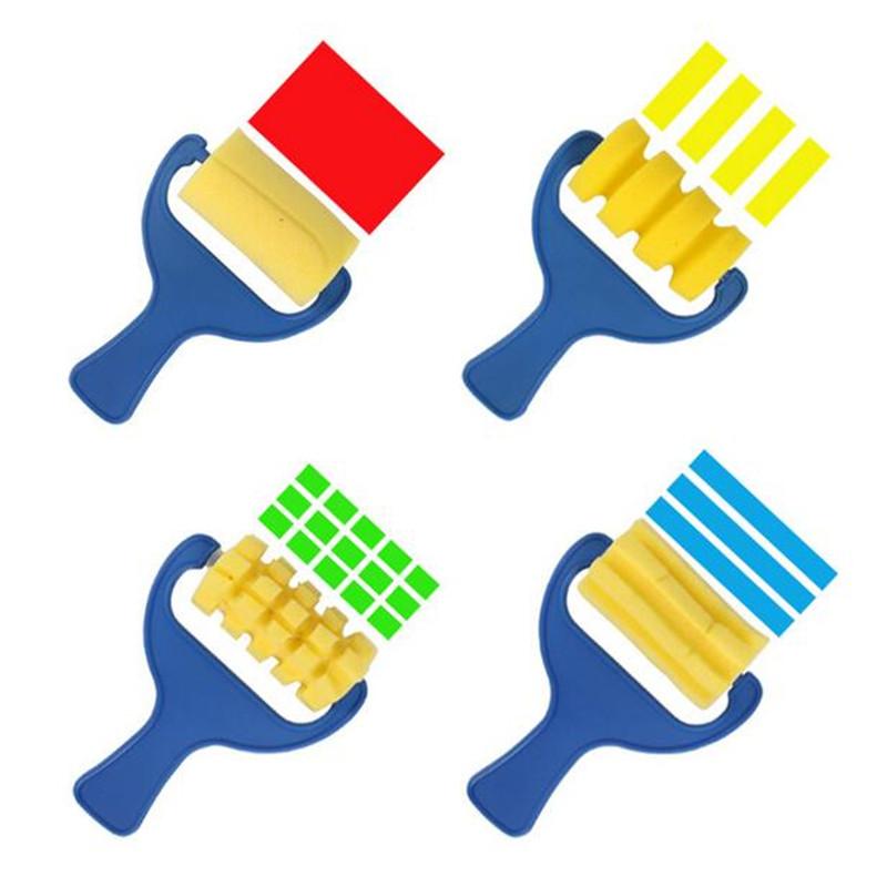 4pcs/lot yellow sponge brush seal sponge paint brush original plastic handle children's painting graffiti kids drawing toys(China (Mainland))