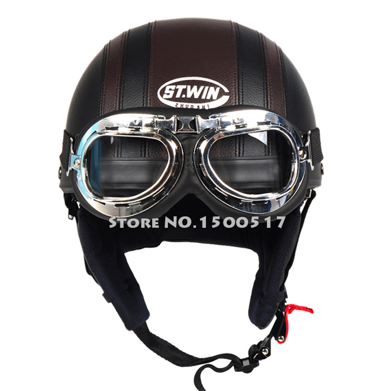 Brand New Vintage Motorcycle Helmet Harley Open Face Retro Half Helmets Moto Motocicleta Capacete Casco Casque Kask with Goggles(China (Mainland))