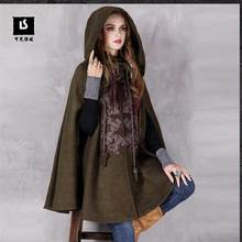 2016 Winter Vintage Embroidery Hooded Thicken Warm Lady Woolen Outerwear Coat High-end Women Cape Shoulder Sleeve Cloak Parka(China (Mainland))