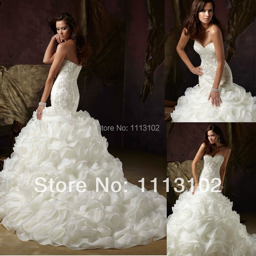Romantic luxurious newest gorgeous exquisite ruffle for Ruffled mermaid wedding dress