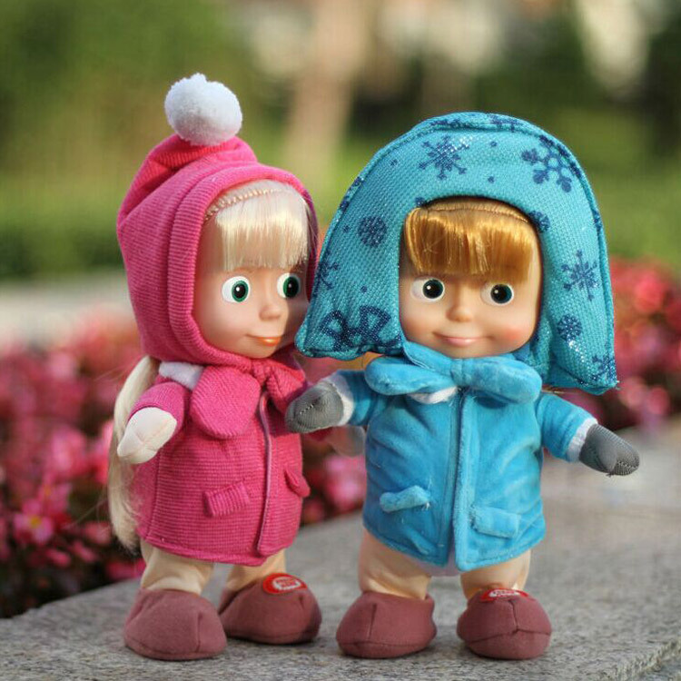 28CM Masha and Bear Figure Toys Russian Dancing Walking Talking Singing Doll Birthday Gift Masha e Orso Bonecass Free shipping(China (Mainland))