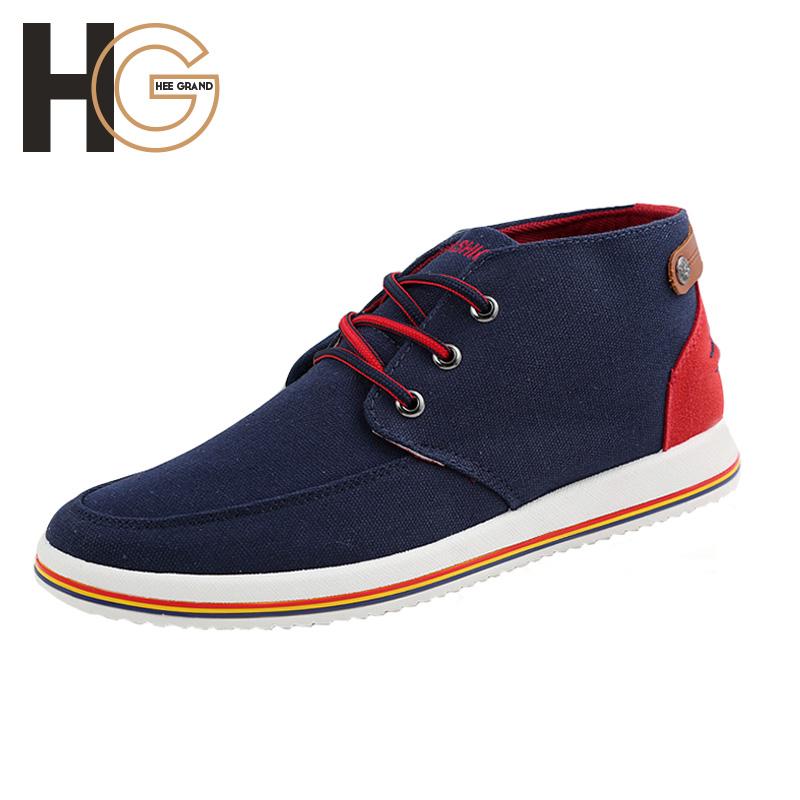 New Men Canvas Shoes British Fashion Color Patchwork Flats Shoes Spring Autumn Casual High Top Shoes Men XMF408