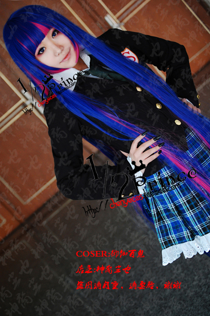 Anarchy Stocking 1 meter pink blue fusion long straight with full bangs lace cosplay costume wig.synthetic hair.Free shipping