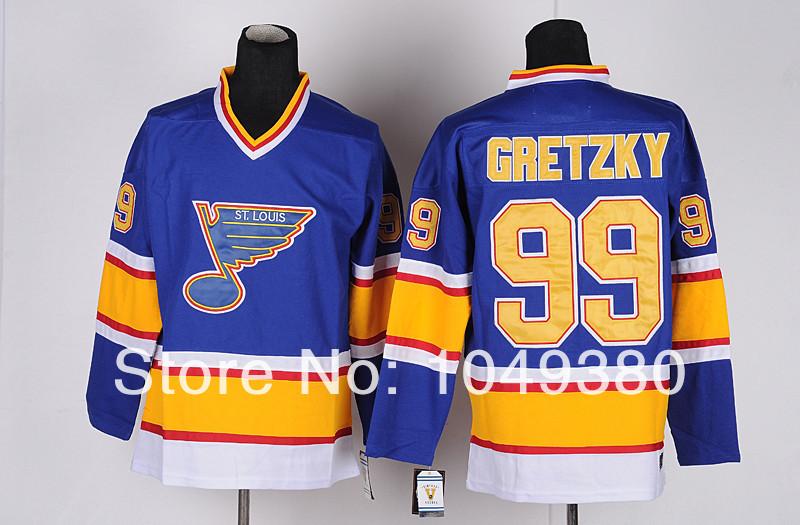 St. Louis Blues 99 Wayne Gretzky CCM Vintage Ice Hockey Jerseys Blue Men's Wholesale Throwback Jersey all Cheap(China (Mainland))