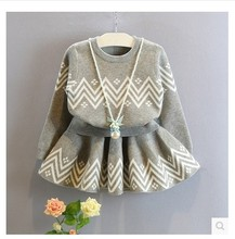 new 2016 autumn winter kids clothing fashion grey baby girls clothes sets long-sleeve sweater + skirt children tracksuit