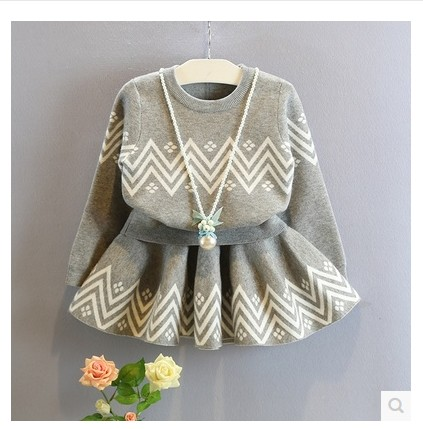 new 2016 autumn winter kids clothing fashion grey baby girls clothes sets long-sleeve sweater + skirt children tracksuit(China (Mainland))