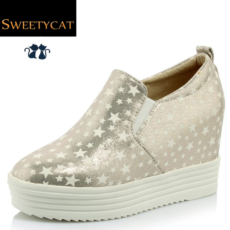 New 2016 Autumn/Spring Fashion Height Increasing Casual Shoes woman Lighted at night platform Wedges heels Leather shoes L45(China (Mainland))