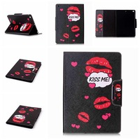 Fashion Cartoon Painting Style Printed Stand Flip Pu Leather Case For iPad Air With Card Slots For iPad 5 9.7inch Fundas Coque