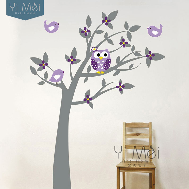 Owl birds vinyl wall stickers tree branches art decalsfor - Stickers arbre chambre fille ...