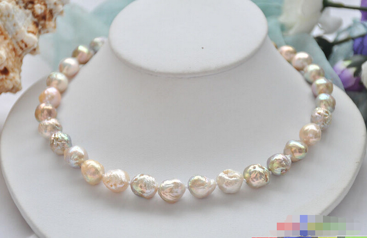 P5291 17 12mm pink lavender almost round keshi reborn Edison pearl necklace^^^@^Noble style Natural Fine jewe FREE SHIPPING<br><br>Aliexpress