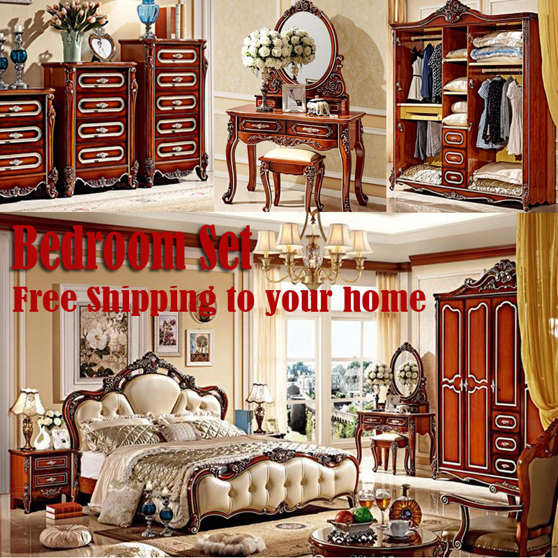 Free Shipping Whole bedroom set furniture italian genuine leather cowhide include bed Night Tables Dresser Mirror Cabinet etc(China (Mainland))