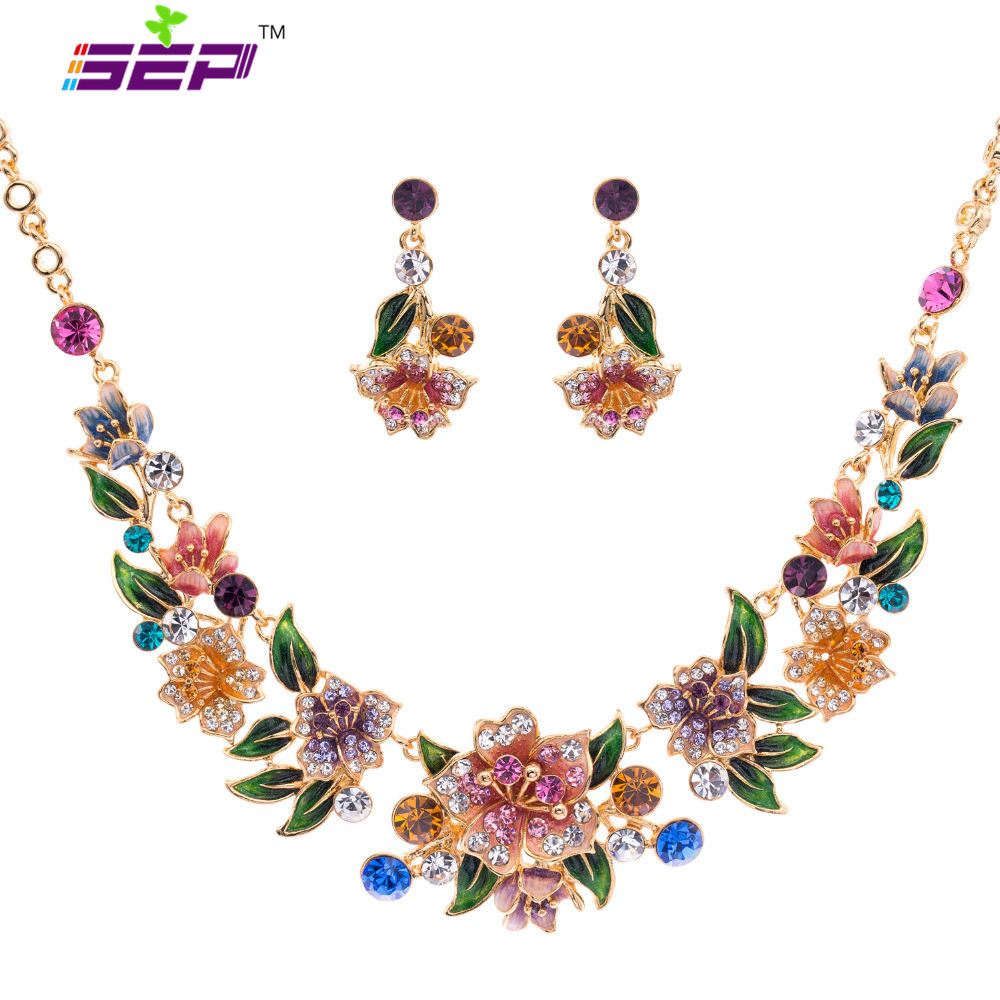 Designer Brand Necklace Earrings Set Gold Plated Woman Enamel Jewelry Sets for Women Multicolor Flower Austrian Crystal SNA3271