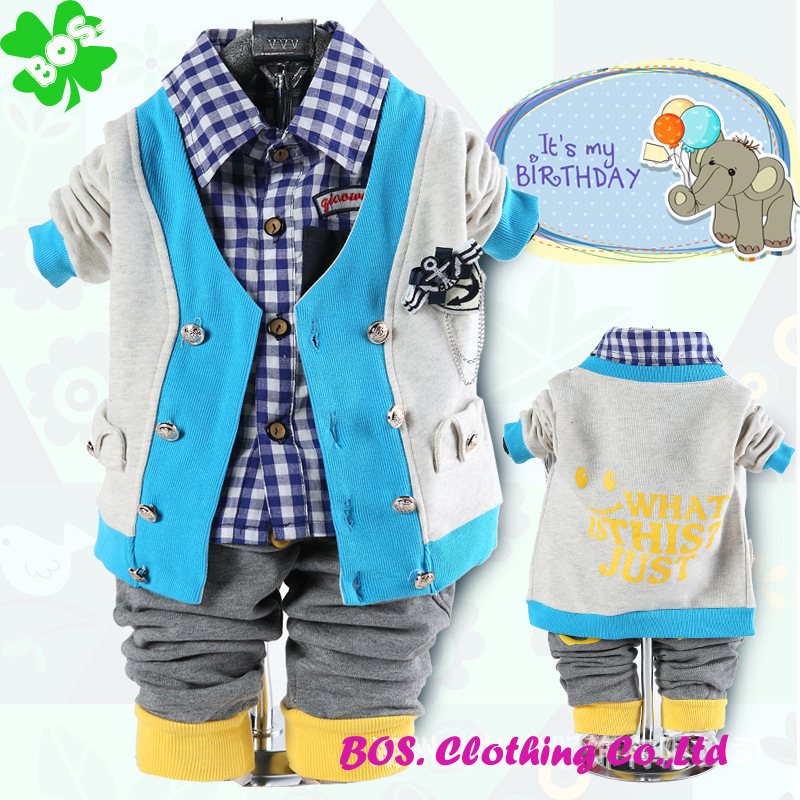 2014 New arrival children's Clothing Sets cotton fastener button style fashion coat+shirt+pantsbaby boy/kid 3pcs sets BO.-Z4390(China (Mainland))