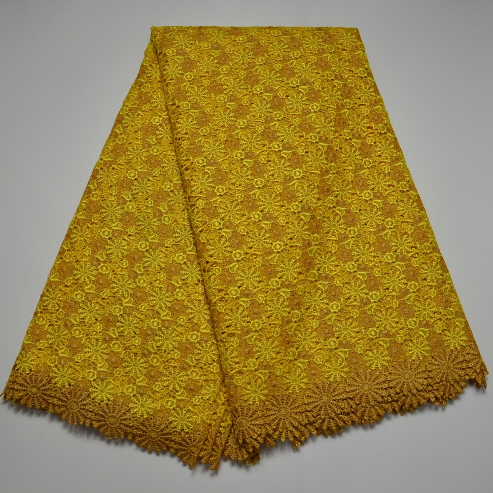 Yellow Color High Quality Nigerian Wedding African Lace Fabric Guipure Cord Lace Fabric For Wedding Party Water Soluble(China (Mainland))