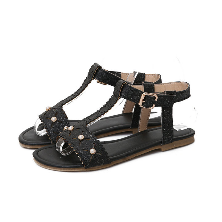 fashion Elegant Fretwork T-Strap Pearl Solid Soft Leather Casual dating Open Toe Front&amp;Rear Strap Womens Flat sandals big size<br><br>Aliexpress