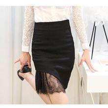 Buy Women Sexy Studded Lace Mini Skirt Female Black Asymmetric Skirts High Elastic Waist Slim Package Hip Step Work OL Skirt for $15.43 in AliExpress store