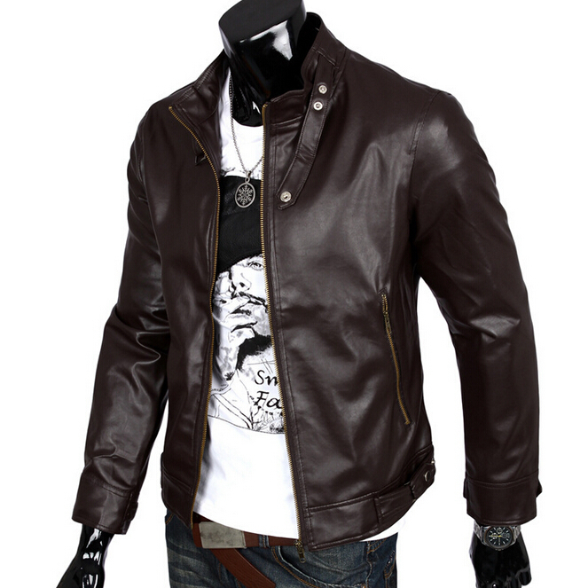 European American Style Motorcycle Leather Men Jacket Casual Punk Pilot Leather Jackets Men Solid Color Male Trench Coat Outwear(China (Mainland))