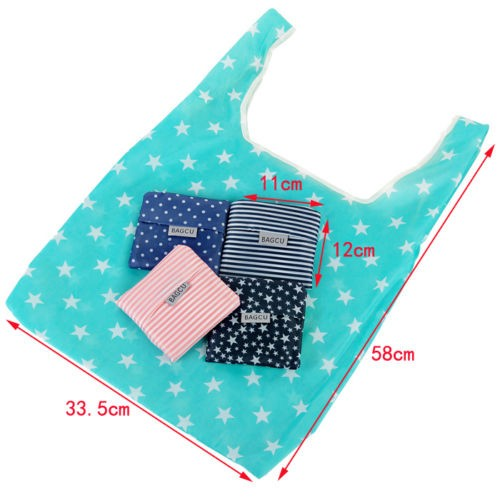 1 PC Hot Unisex Женщины Star Dots Striped Reusable Portable Shopping Bag Grocery Handbags Tote Environmental Folding Holders Bags
