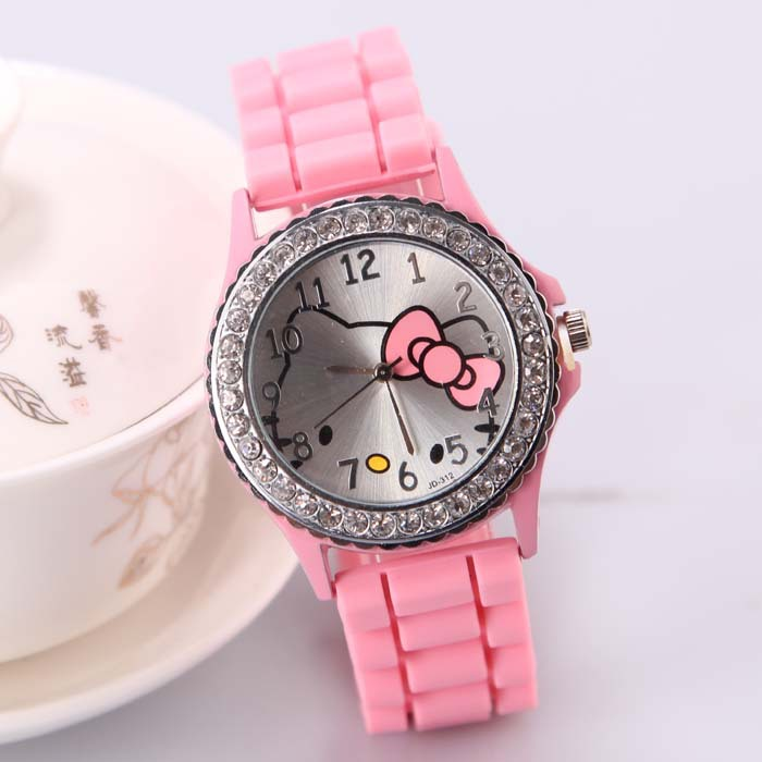 Quartz Silicone Strap Rhinestone Wristwatches Cartoon color Hello Kitty Watch Women Dress Kid Fashion Casual Watches(China (Mainland))