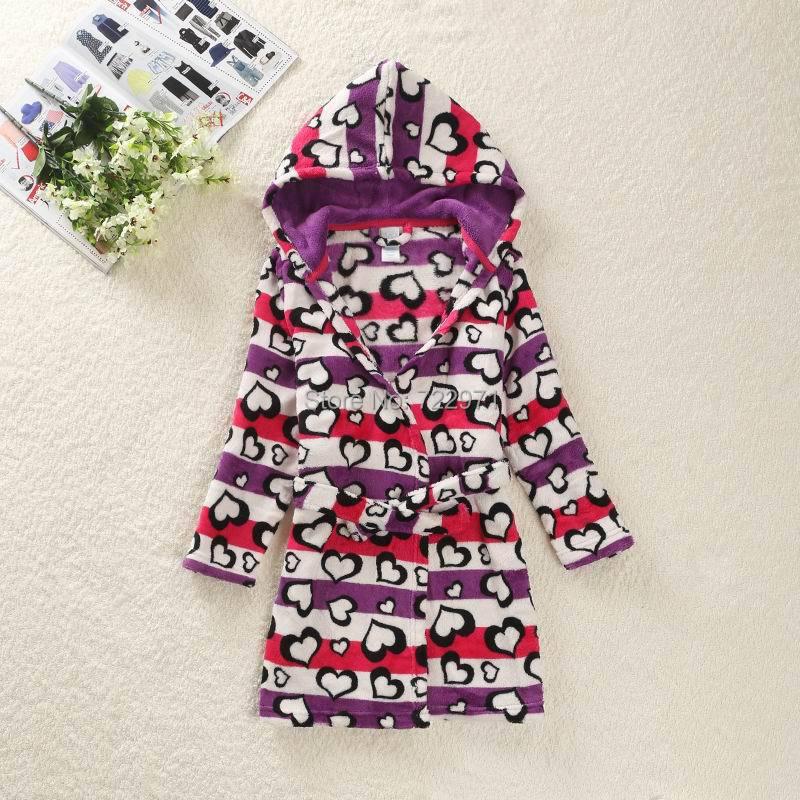 2015 kids coral fleece robe girls winter warm robes children's bath fall autumn sleep sleepwear - happy baby's home store