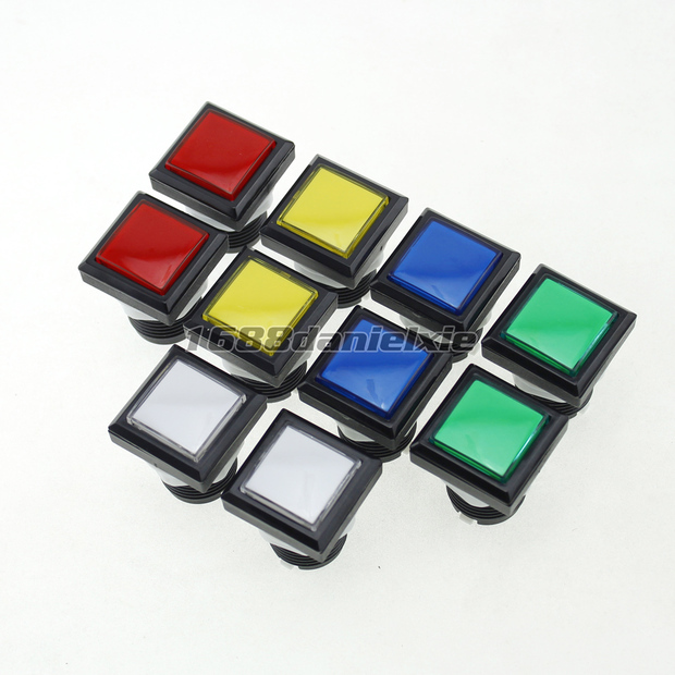 10x 33*33mm Square Shape LED Illuminated Push Buttons With 12V LED Light + 10 Micro Switch For Arcade Machine Games<br><br>Aliexpress
