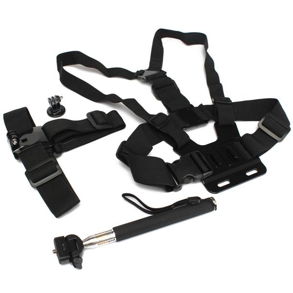 Camera Handle Monopod Tripod Mount Head Chest Strap Accessories set For GoPro Hero 1 2 3 3+ 4 SJ4000 SJ5000 SJ6000 for Xiaomi Yi(China (Mainland))