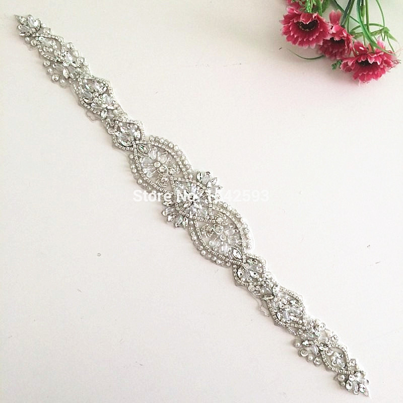2015Rhinestone decorations beaded rhinestone applique for wedding dresses diamond embroidery lace trim Crystal sewing(China (Mainland))