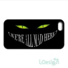 Fit for iPhone 4 4s 5 5s 5c se 6 6s 7 plus ipod touch 4/5/6 back cellphone case cover Alice in Wonderland We're all mad here