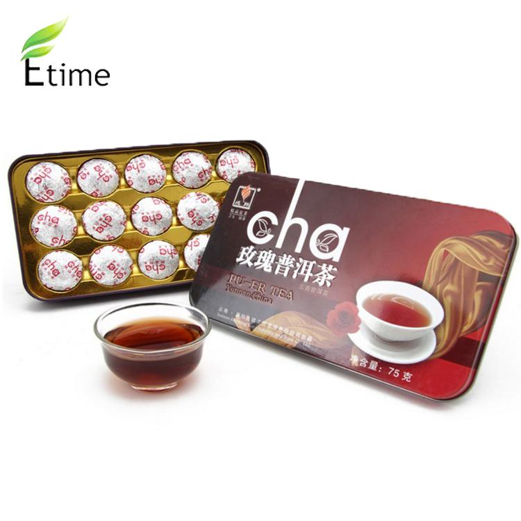 Mini Box of 15 Pieces puer rose tea High Quality Mellow Flavor Compressed pu er tea