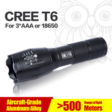 CREE XM-L T6 Led Flashlight 3800Lumens Led Torch Zoomable Waterproof Tactical Flashlight for 3xAAA or 1x18650 Camping Hiking(China (Mainland))