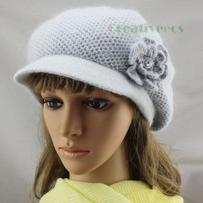 New Stylish Classic Brim 3D Flower Beanie Soft Visor Women's Winter Wool Cap Snow Knit Hat Angora(China (Mainland))