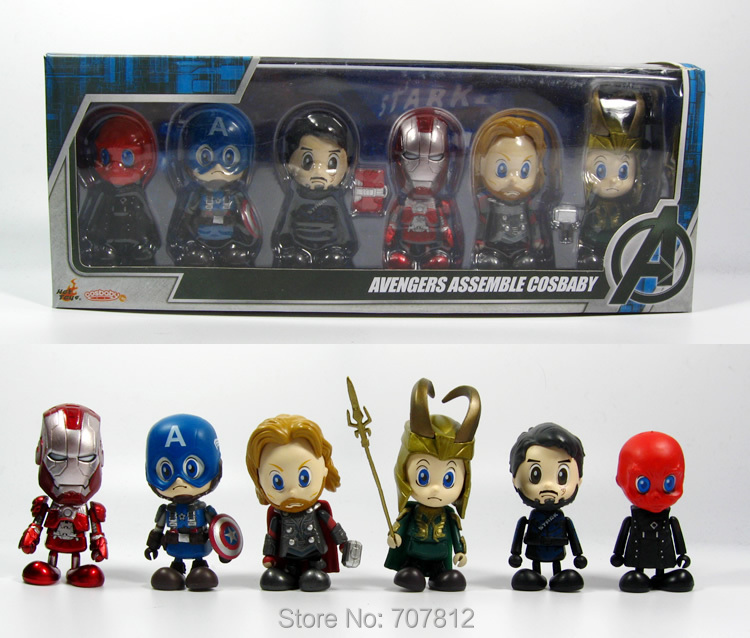2014  The Avengers Action Figures 6PCS/Set  PVC Cute Avenger Assemble Cosbaby  Collections Toys  Best Gift Free Shipping<br><br>Aliexpress