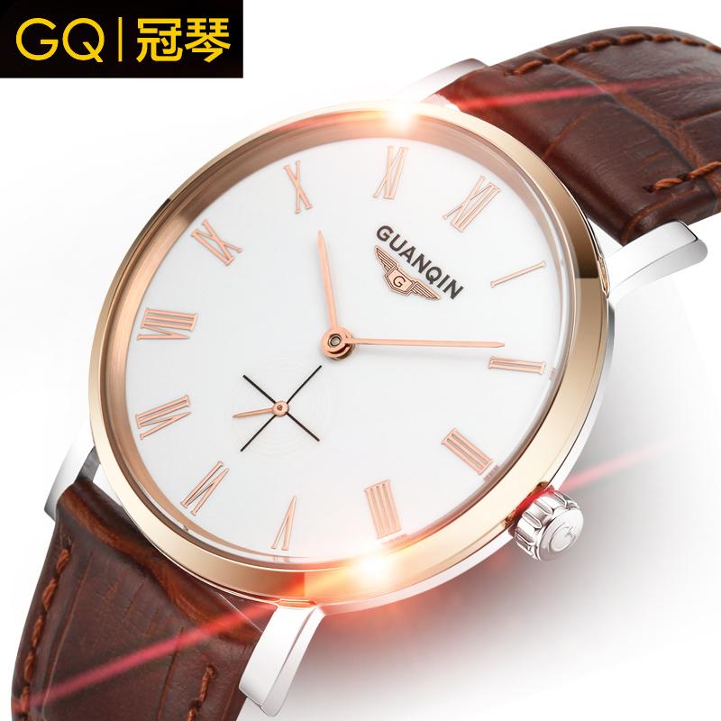 GUANQIN luxury brand quality goods automatic mechanical watch men ultra-thin waterproof real leather fashion business men watch(China (Mainland))