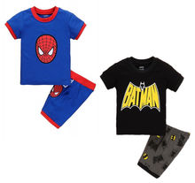 new design spiderman cotton pijamas short sleeve boys pyjamas children pajama sets baby clothing