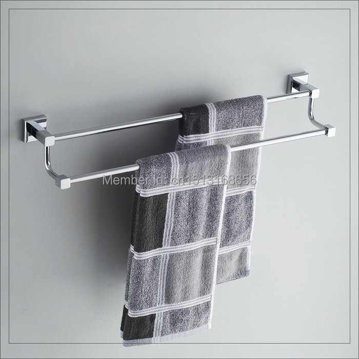 Chromed Polished Towel Rack Copper Double Towel Bars Bathroom Hardware Accessoies faucets antique(China (Mainland))
