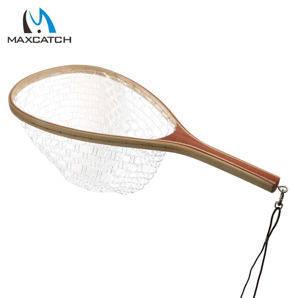 Maxcatch new fly fishing landing net wooden handle rubber for Wooden fishing net