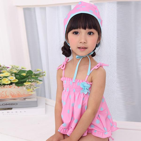 Hot SaleHot SaleFashionCute Girls Kids 3 Pieces Pants Tops Hat Place Pink Polka Dots Bikni SwimsuitFree Shipping(China (Mainland))