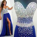 Real Sample Royal Blue Elegant Prom Dresses 2015 Chiffon Long Evening Dress for Prom Abendkleider Crystal