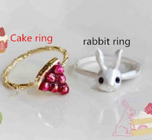 Wholesale:Sell like hot cakes in Japan contracted small Japanese manual custom,bright red ring cake,lovely rabbit ring12/PCS