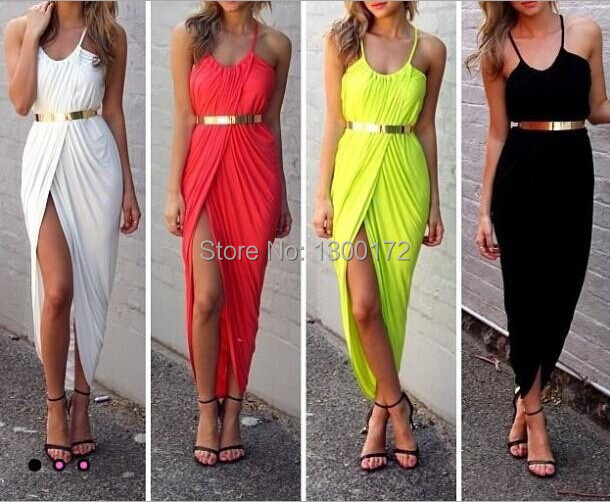 women summer Casual beach dress yellow white black red bohemian maxi dresses long 2014 sun wIthout belt - Good again Stores store