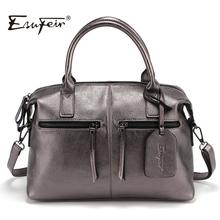 2016 Genuine Leather Boston Women Handbag Fashion Luxury Shoulder Bag Solid Zipper Women Pillow Bag Ladies Bag bolsos sac a main(China (Mainland))
