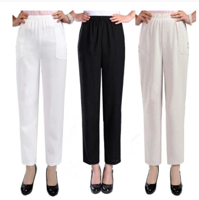 linen pants with elastic waist - Pi Pants
