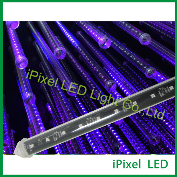 wholesale 96LEDs, two side PCB waterproof intelligent DMX 3d meteor starfall tube led lights(China (Mainland))