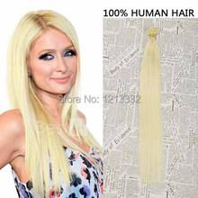 Hot Queen Hair Products 8″-28″Peruvian Straight Nail/U Tip Human Fusion Hair Extensions 50g (#60 White Blonde)Human Hiar