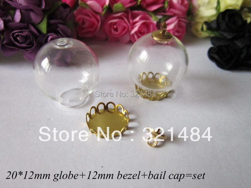 50set glass bottle vials pendants jewelry making 20*12mm globe&amp;12mm raw brass lace bezel blank setting base&amp;caps finding<br><br>Aliexpress