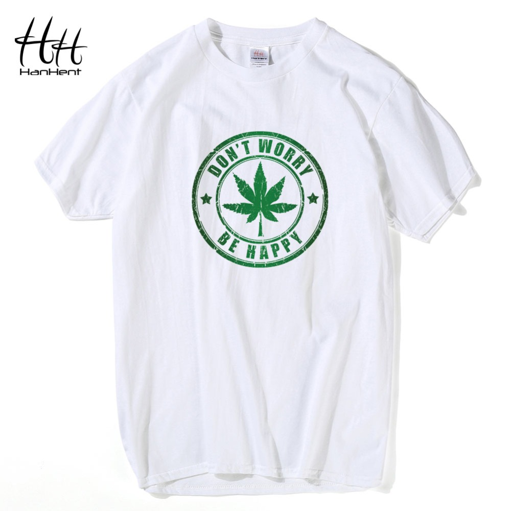 Hanhent Male Leaf T Shirt Fashion Cool College Men Short
