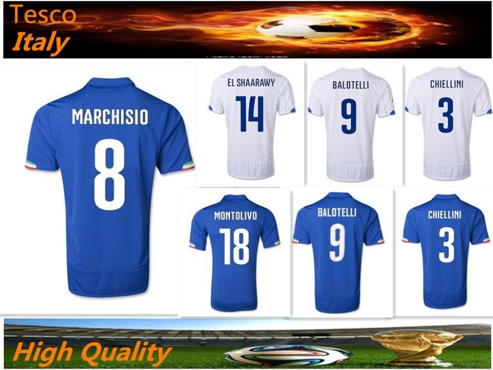2014 italia calcio domestico jersey jersey italia camicia top tailandia di qualità su misura 9# balotelli nuova italia jersey(China (Mainland))