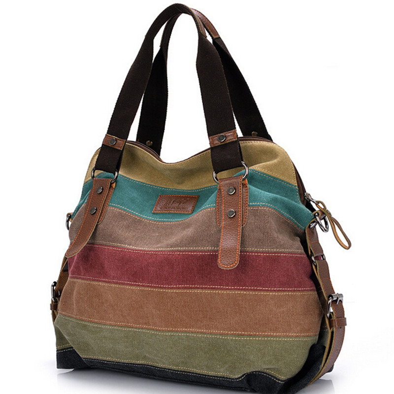 Patchwork Stripe Canvas Shopping/School Shoulder Bags Casual Girl Handbags Brand Vintage Tote Women Messenger Bag Trendy Cowboy(China (Mainland))