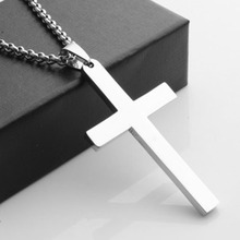 Men's silver cross necklace pendant titanium DIY jewelry components accessory 5cm fashion jewelry for men(China (Mainland))