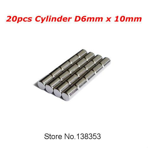 20pcs Bulk NdFeB Neodymium Jewelry Magnets Rod Dia 6mm x 10mm N35 Super Strong Rare Earth Cylinder Bar Magnet<br><br>Aliexpress
